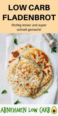 Low Carb Fladenbrot - Abnehmen Low Carb - Low Carb Frühstück - Perfect to use as a breakfast or snack! With this low carb flatbread you will do something really good for your health! Perfect for the diet! Quick Easy Healthy Meals, Healthy Crockpot Recipes, Low Calorie Recipes, Healthy Breakfast Recipes, Healthy Snacks, Low Carb Flatbread, Law Carb, Recipes Breakfast Video, Flat Bread