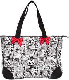 SOURPUSS BETTIE PAGE COLLAGE TOTE BAG Sourpuss now has your favorite pinup, Miss Bettie Page, on a handy tote! This white canvas tote features a newspaper collage pattern complete with Bettie posin' & dancin' all printed in black. Bag also features a zip top, red vinyl decorative bows and is trimmed in matching matte vinyl. $32.00 #sourpuss #sourpussclothing #tote #totebag #bettiepage #bettiepagetote #collage