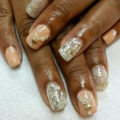Gel extensions with glitter foil gel polish and bling