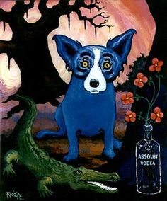 Blue Dog absolut vodka advertisement george rodrigues ad made him famous