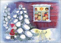Salli Parikka Wahlberg, Finland:  Whimsical Santa  and bunny outside window - children watching