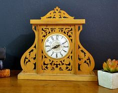 SALE Vintage Wood Carved Clock Electric by ThoughtCakeLiving Vintage Wood, Vintage Mantle, Vintage Items, Electric Clock, Mantle Clock, Wood Clocks, Vintage Marketplace, Wooden Tables, Carving