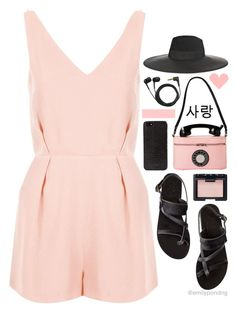 #485 by emilypondng on Polyvore featuring Topshop, Ancient Greek Sandals, Maison Michel, DKNY, NARS Cosmetics and Sennheiser