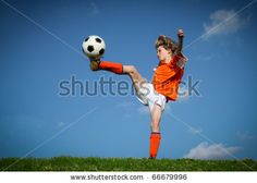 Kid Playing Soccer Kicking Football Stock Photo 66679996 : Shutterstock