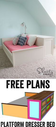 Free DIY Furniture Project Plan: Learn How to Build a Platform Bed with Dresser Storage via Shanty2Chic building furniture building projects #buildingfurniture