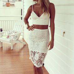 im so in love with the crochet skirt and how it has this kind of inverse high low thing going on