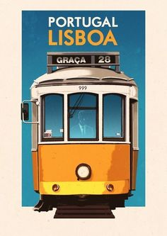 This 28 antique Lisbon tram along with the others in the fleet pass my apartment every day here at the other end of the line in Campo de Ourique. Vintage Travel Poster - Lisboa - Portugal - Lisbon BY Rui Ricardo Pub Vintage, Photo Vintage, Vintage Style, Illustrations Vintage, Illustrations Posters, Lisbon Tram, Plakat Design, Tourism Poster, Retro Poster