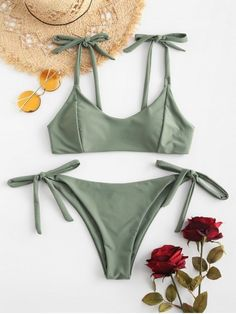 07c23f11cb5  POPULAR  2019 ZAFUL Tied Low Waisted Bikini Set In CAMOUFLAGE GREEN S