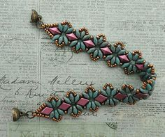 Linda's Crafty Inspirations: Bracelet of the Day: Bisaneta's Bracelet - Turquoise & Burgundy