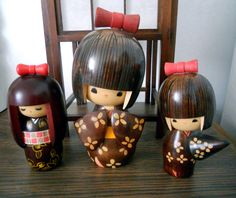 """""""My Beautiful Kokeshi Dolls from Japan"""": each wooden doll is a precious souvenir associated with a cherished 'n wonderful memory. ♥•‿•"""