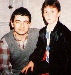 Rowan Atkinson and little Christian Bale! from :awesome people hanging out together on tumblr
