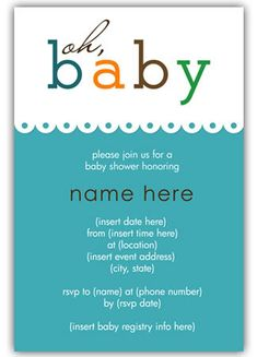 baby shower invites, free printable in pink or blue...cute!