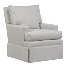 Small Track Arm, Boxed Back Pillow Chair W/Kick Pleat Skirt & Double Needled Seams