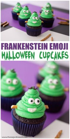 These Frankestein monster halloween cupcakes are the perfect Halloween party food idea and great fun Halloween Cupcakes, Dessert Halloween, Fairy Halloween Costumes, Halloween Food For Party, Halloween Activities, Spooky Halloween, Halloween Treats, Halloween Baking, Halloween Foods