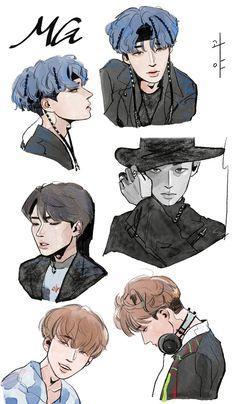 Kpop Drawings, Art Drawings, Chibi, Hugs And Cuddles, Kpop Fanart, Aesthetic Art, Kawaii Anime, Cute Art, Art Inspo