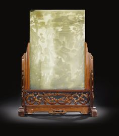 A LARGE CELADON JADE TABLE SCREEN QING DYNASTY - Sothebys