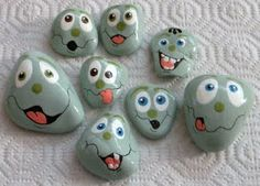 Painted rocks : Faces