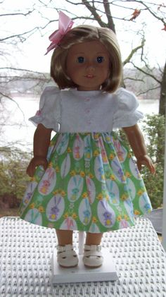 Easter Dress and hair clip for 18 inch doll or American Girl doll.  Novelty rabbit print. by ASewSewShop on Etsy
