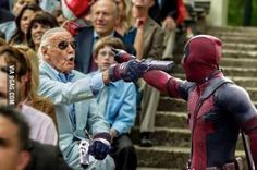 therealjacksepticeye: the-hoody-geek: Stan Lee's cameo in Deadpool looks hype as fuck YESS! All I want is Deadpool to recognise Stan Lee for who he is and destroy that wall! Marvel Dc Comics, Marvel Funny, Marvel Heroes, Marvel Movies, Marvel Avengers, Dead Pool, Stan Lee Cameo, Marvel Cinematic Universe, Guardians Of The Galaxy