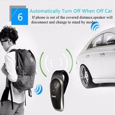 Universal Slim Wireless Bluetooth Handsfree Car Kit Speaker Phone Visor Clip