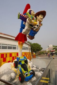 to infinity and beyond...  (whoa w/legos)      #legoduploparty    Check out this LEGOToy Storysculpture outside the Lego Imagination Center shop at the Downtown Disney Marketplace.