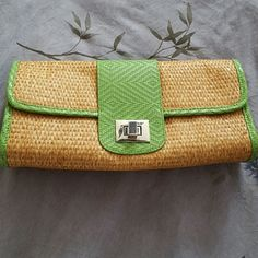 Adorable Clutch from Gap Brand new! Super cute woven clutch with green trim.  Never been used. Very roomy with inside pocket. Great for summer! *All reasonable offers accepted. :) GAP Bags Clutches & Wristlets