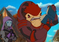 """How can you read this, there aren't even any pictures?"" -Wrex.  Disney spoof of Mass Effect."
