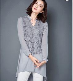 Chiffon-font-b-Blouse-b-font-2016-Women-Shirts-Loose-Long-Sleeve-Shirts-V-neck-font.jpg (802×891)
