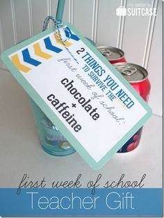 Teacher Appreciation First Week of School Gift-nice humorous introduction, free printable at link, adaptable to several weeks throughout school year. Also customizable for other items. Back to School Teacher Gifts Back To School Teacher, Beginning Of School, School Fun, First Day Of School, Back To School Gifts For Kids, School Stuff, School Times, School Days, Sunday School