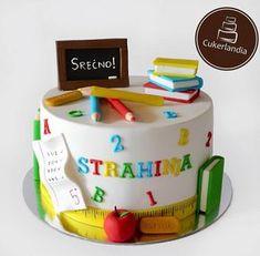 Za djaka prvaka 🎒📚 … – - Decoration For Home Graduation Balloons, Graduation Cupcakes, Graduation Day, Beautiful Cakes, Amazing Cakes, Fondant Cakes, Cupcake Cakes, Teacher Cakes, School Cake