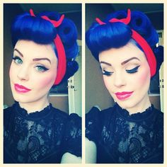 Blue pinup hair and pretty makeup x