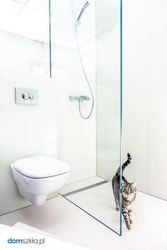 Szkło kolorowe, panele ścienne, kabina prysznicowa, łazienka, kot. Lacobel, shower, white glass, cat, bathroom.