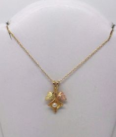 """10K YELLOW ROSE GOLD BLACK HILLS GOLD PEARL PENDANT CHARM W 24"""" LINK CHAIN"""