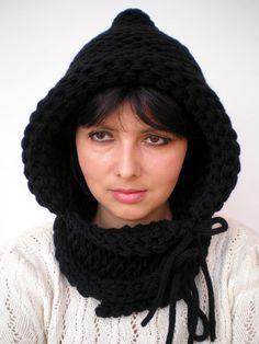 Schwarze Haube Double Geist Knit Hood Super weiche gemischte wolle Frau Reversible Hooded Kapuze Chunky Hoodie