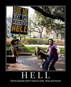 If I had to guess I'd say the guy in the purple shirt has discovered the back door to Hell. Doesn't look so bad...