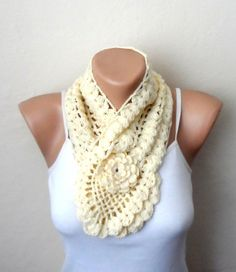 yellow cream knit scarf crochet  knit scarf handmade scarf