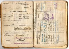 Some pages from a Soldbuch. Paul needed a forged Soldbuch before he could escape from Germany in Friends & Enemies.