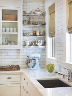 glass front + open shelving
