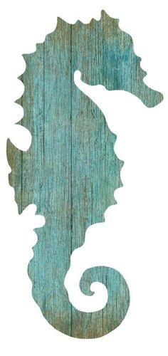 Cavalo Marinho quadro Artist Suzanne Nicoll's wonderful image of the silhouette of an aqua colored seahorse facing to the right with his fin pointed left, printed directly onto a distressed wood panel creating a unique and Beach Cottage Style, Beach House Decor, Coastal Style, Coastal Decor, Tropical Decor, Coastal Living, Tropical Fish, Silhouette Sign, Mermaid Silhouette