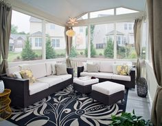 Furnish the sunroom properly with right kind of sunroom furniture. There are some tips to choosing the right sunroom furniture. Outdoor Curtains, Outdoor Rooms, Outdoor Living, Porch Curtains, Outdoor Privacy, Outdoor Decor, Home Design, Interior Design, Design Ideas