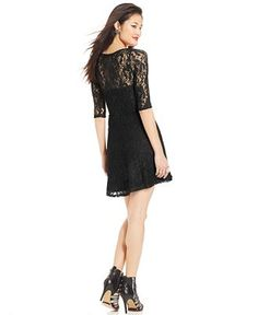 Material Girl Short-Sleeve Lace Skater Dress - Juniors Dresses - Macy's