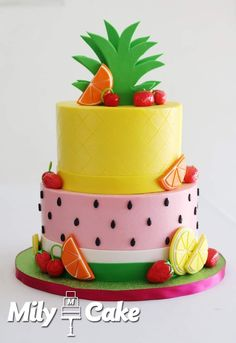 Yoghurt cake with Cook Expert - HQ Recipes 12th Birthday Cake, Fruit Birthday Cake, Watermelon Birthday Parties, Fruit Party, Themed Birthday Cakes, Themed Cakes, Watermelon Cake, Summer Cakes, Celebration Cakes