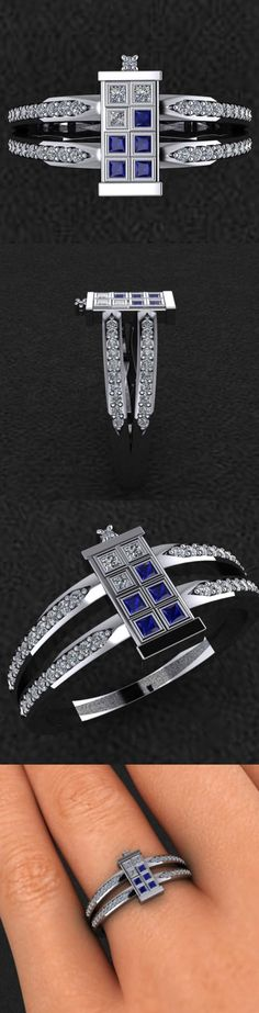 Time Travel With Me?: Doctor Who TARDIS Door Ring This is the TARDIS ring designed and sold by Etsy seller dtekdesigns. It looks like the door of Doctor Who's TARDIS (or any blue police callbox). The ring comes with a 1/4 carat total weight of diamonds and blue sapphires and costs $1,100 in sterling silver. A white, yellow or rose gold version will set you back $1,900, and titanium $3,000.  Read More: http://geekologie.com/2015/02/time-travel-with-me-doctor-who-tardis-do.php