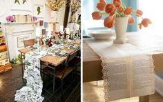 Caminos de mesa: Un montón de ideas - ¿Quieres vestir tu mesa de una manera elegante y original? Toma nota de las muchas ideas que puedes poner en práctica.