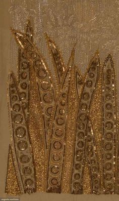 1920s beadwork | M.D.C. Crawford, noted early 20th C fashion historian & author, assembled this 240 piece collection of mostly French hand done embroidery & beading samples, including samples by Zara Lipska (see photo w/ embroidered leather), Polish emigree to Paris; various sizes, some fragments, some multiple yards, dress parts, etc. Brooklyn Museum