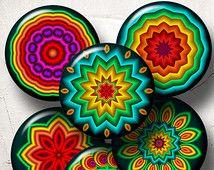 """Cercles de fête Mandala - Feuilles de collage numérique CG-881 à 1,5 """", 1,25"""", 30mm, 25mm et 1 """"cercles téléchargements numériques pour Bijoux, bouchons"""