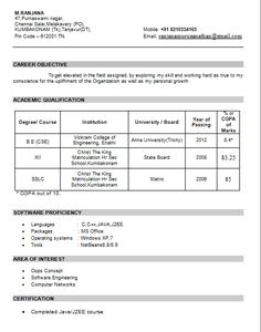 Fresher Chartered Accountant Resume Sample / Template For All