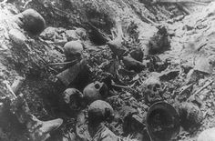 The remains of German soldiers at a place the French called the Mort Homme (Dead Man's Hill) northwest of Verdun, where wave upon wave of Germans had attacked strong French positions without success. World War I Timeline - 1917 - Horrors of War