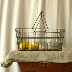 Vintage metal grocery store basket for an industrial look
