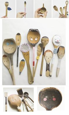 Refurbished wooden spoons with cute little faces!